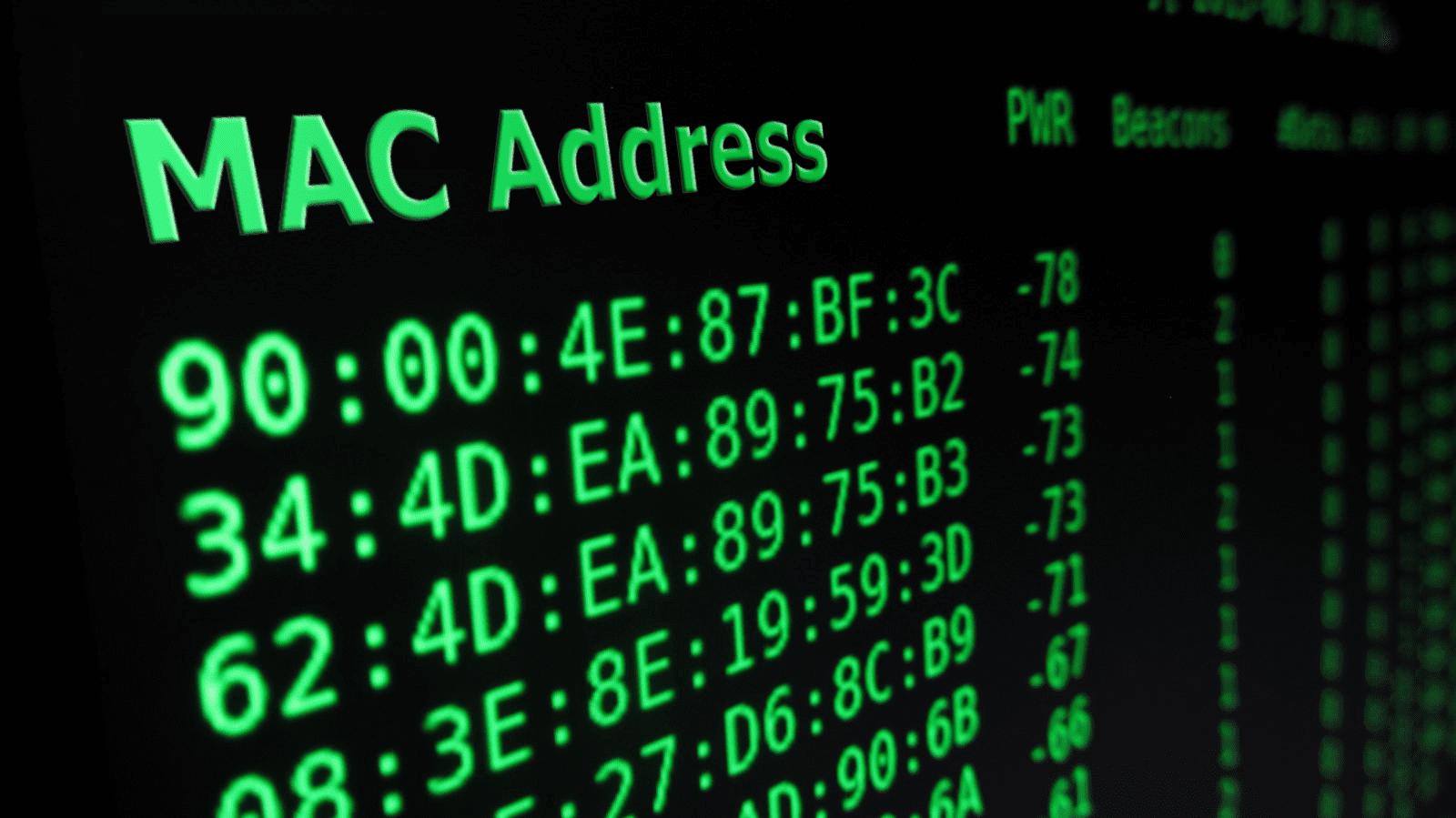 طریقه یافتن Mac Address
